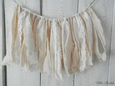 Muslin and Lace Fabric Garland | Wedding Decor | Backdrop Banner Garland | Rustic Shabby Chic Banner  | Photo Prop | Vintage Bunting on Etsy, $18.00