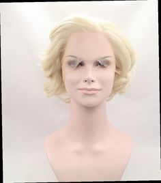 53.90$  Buy now - http://aliljt.worldwells.pw/go.php?t=32637522240 - High quality short wig lace front synthetic heat resistant fiber hair Marilyn Monroe Fashion wig
