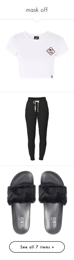 """""""mask off"""" by aneane111 ❤ liked on Polyvore featuring tops, t-shirts, multi, cotton t shirts, cotton tees, illustrated people, activewear, activewear pants, pants and bottoms"""