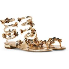 Nasty Gal Santorini Metallic Wrap Sandal (€45) ❤ liked on Polyvore featuring shoes, sandals, gold, wrap sandals, round toe shoes, low block heel sandals, decorating shoes and wrap shoes