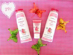 Lote compuesto por los 3 productos de la línea Princesse de Alphanova; Gel de Baño, champú y crema para cara y cuerpo. Con olor a fresa orgánica y la garantía del certificado ecológico Ecocert.