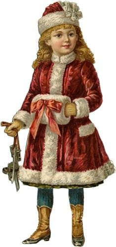 Vintage Christmas image, little girl in red