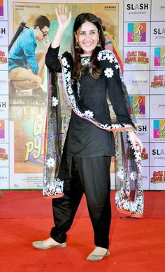 #Salwar Suit #Kareena Kapoor in a black punjabi suit.