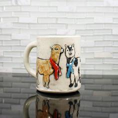 Alpaca Mug  coffee mug tea cup  aztec peru andes by hadleyclay