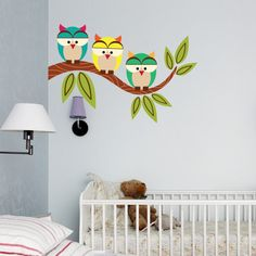 Owl Wall Decals Designed for Kid Bedrooms — Brand Resort Home Ideas Owl Wall Decals, Kids Room Wall Decals, Nursery Wall Stickers, Vinyl Wall Decals, Baby Wall Decor, Baby Boy Room Decor, Room Wall Decor, Baby Boy Rooms, Kids Wall Murals