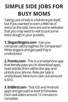 Simple Side Jobs For Busy Moms - Wisdom Lives Here Ways To Earn Money, Earn Money From Home, Earn Money Online, Online Jobs, Way To Make Money, How To Make, Online Careers, Money Tips, Make Easy Money