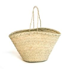 Strong, flexible, open carrier basket with supportive rope handles. Size Options: top (d) x bottom (d) x (h) top (d) x bottom (d) x (h) This product has a lead time of 2 weeks for production and delivery Sale Items, Straw Bag, Basket