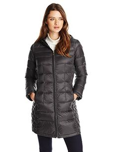 London Fog Womens Packable Down Jacket with Hood Black Medium *** Click on the image for additional details.