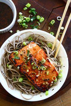 Sesame Ginger Salmon over Soba Noodles