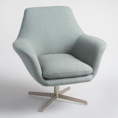 Blue Gray Mahoney Swivel Chair | World Market