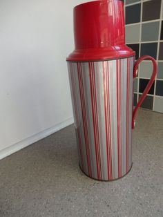 Vintage Retro 1970s Red & Silver Striped 1.8Ltr Thermos Flask with Handle in Collectables, Vintage/ Retro, 1970s | eBay