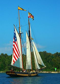 Patriotic Tall Ships coming through Sturgeon Bay, Wisconsin