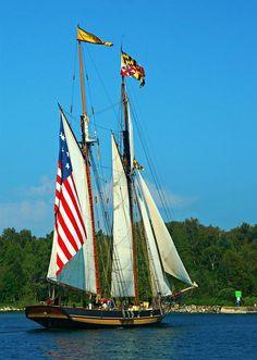 Patriotic Tall Ships coming through Sturgeon Bay, Wisconsin