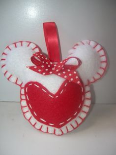 Sweet felt Minnie Mouse heart ornament. $4.00, via Etsy.
