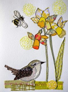 Wren Spring stitched mixed media original by AmandaWoodDesigns (Little Mix Wallpapers) Freehand Machine Embroidery, Free Motion Embroidery, Free Machine Embroidery, Embroidery Applique, Bird Applique, Sewing Machine Drawing, Fabric Cards, Quilting, Creative Textiles