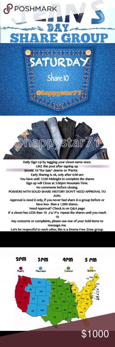 OPEN SIGN UP SATURDAY 11/05 SHARE GROUP Liked Post ⭐️Share 🔟 Jeans and/or Pants.  ⭐️ We'll love to see your closet tomorrow, look for the signing sheets at the bottom of my page⭐️ Let's sell those jeans ladies! 🎉🎉 Other