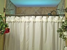 Shabby Flower Trimmed Shower Curtain