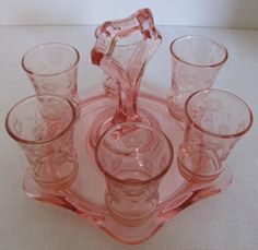 PINK ETCHED CORDIAL SHOT GLASSES KEYHOLE TRAY DEPRESSION ERA 1930s