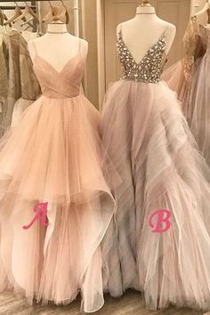 A Line Floor Length Deep V Neck Spaghetti Sleeveless Beading Ruffles Prom Dress,Party Dress Princess Prom Dresses, Cheap Prom Dresses, Prom Party Dresses, Occasion Dresses, Formal Dresses, Dress Party, Prom Dresses Online, Pretty Dresses, Beautiful Dresses