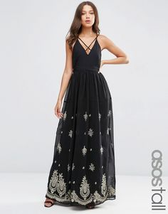 Image 1 ofASOS TALL Strappy Maxi Dress with Embroidered Hem