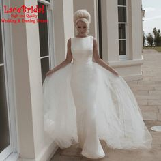 Find More Wedding Dresses Information about Simple Summer Sheath Bow Church Wedding Dresses 2016 with Detachable Skirt Long Bridal Gowns Custom Made vestido de noiva HW19,High Quality dress philippines,China dress c Suppliers, Cheap dress tuxedo from LaceBridal on Aliexpress.com
