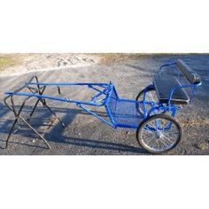 BLUE Easy Entry mini cart miniature horse drawn cart