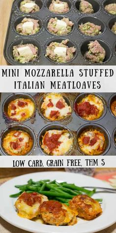 Mini Mozzarella Stuffed Italian Meatloaves - Low Carb, Grain Free, THM S - these cook faster than a big meatloaf & you don't need to roll them into balls. They are a perfect weeknight meal.