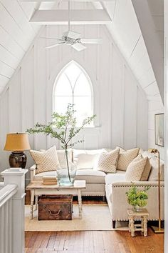 The Loft - Charming Tennessee Mountain Cottage - Southern Living - dezdemon-home-decorideas. Cottage Living Rooms, Cottage Interiors, Home And Living, Living Spaces, Big Living Rooms, The Loft, Farmhouse Interior, Modern Farmhouse, Farmhouse Decor