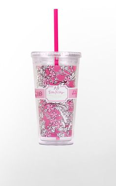 Designed exclusively for the sisters of Alpha Phi, this charming Lilly Pulitzer print is infused with all the botanical beauties that symbolize Alpha Phi.  The pattern is comprised of lily of the valley, the ivy leaf, ivy vines and forget-me-nots.  Hidden inside the pattern, you will also see your Greek letters!  Acrylic tumbler includes lid and straw.      Holds 20 oz     BPA-, Phthalate-, and Lead-Free  This is a limited edition item from the Lilly Pulitzer Sorority Collection.