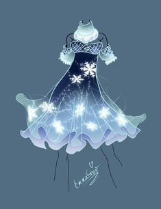 Dress Drawing, Drawing Clothes, Fashion Design Drawings, Fashion Sketches, Fashion Sketchbook, Snowflake Dress, Anime Dress, Dress Sketches, Fantasy Dress