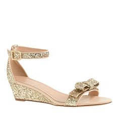 J.Crew - Lillian glitter low wedges