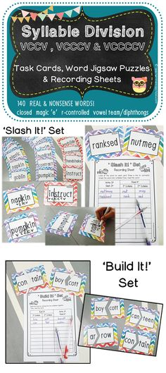 A pack of task cards and recording sheets to practise syllable division of words with the VCCV, VCCCV and VCCCCV syllable pattern. 140 words for practice!