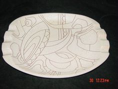 LAPID-ISRAEL-MODERNIST-ABSTRACT-MID-CENTURY-ART-POTTERY-ASHTRAY-SIGNED