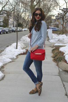 Denim on Denim with pokes of Leopard & red
