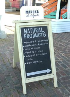 wooden a board with chalkboard panel #pavement sign #chalk boards