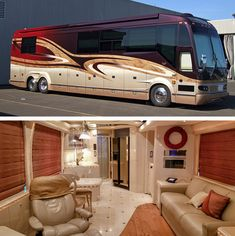 A Prevost Bus conversion is the ultimate luxury motorhome. Marathon is the leader in luxury bus conversions, service and technology. Interior Motorhome, Bus Motorhome, Motorhome Living, Prevost Coach, Prevost Bus, Luxury Motorhomes, Rv Motorhomes, Super C Rv, Marathon Coach