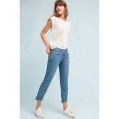 Pilcro Hyphen Mid-Rise Relaxed Boyfriend Jeans ($158) ❤ liked on Polyvore featuring jeans, denim light, relaxed fit jeans, relaxed fit boyfriend jeans, embellish jeans, cropped jeans and boyfriend jeans
