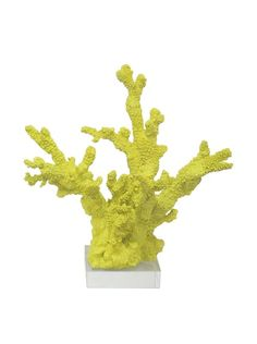 Three Hands Yellow Resin Coral Statue at MYHABIT