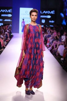 block print indian dress | Krishna Mehta's boho chic collection at Lakme Fashion Week 2015