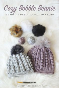Use this free bobble beanie crochet pattern to create an adorable crochet hat for anyone on your gift list. Cozy and warm, it's the perfect winter hat.   bobble toboggan, Daisy Cottage Designs, free crochet pattern, free hat crochet pattern, crochet hat pattern free, bobble beanie