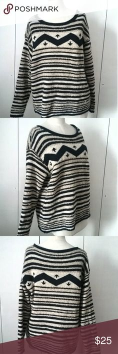4254dbbe94495d Lauren Ralph Lauren Sweater This sweater is pre owned but in excellent  condition. It is a Navajo print of navy and ivory. The sweater has a boat  neck style.