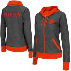 Women's Adult Colosseum Charcoal Clemson Tigers Velocity Cowl Neck Full Zip Jacket