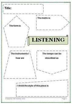Listening Response Sheet - Free Download (gr 4-7)
