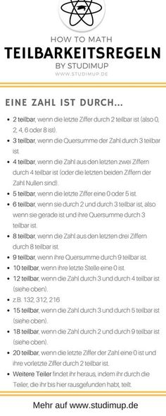 Alle Teilbarkeitsregeln, also wann eine Zahl durch eine Andere teilbar ist. Einf… All divisibility rules, ie when one number is divisible by another. Simply explained on a cheat sheet to learn. For the school in mathematics. School Hacks, I School, Primary School, School Essay, Math Cheat Sheet, Cheat Sheets, Lerntyp Test, Divisibility Rules, Elementary Science