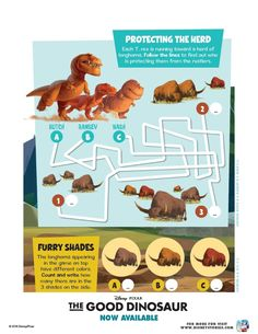 These fun The Good Dinosaur activity sheets include a make your own Dino Puppet Box and more! Dinosaur Printables, Dinosaur Activities, The Good Dinosaur, Activity Sheets, Puppets, Make Your Own, How To Find Out, Good Things, Maze