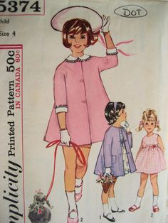 Free Shipping, Simplicity 5374 Vintage 60s Coat Pattern Girls 4 Empire Waist Dress