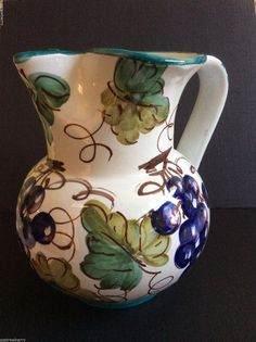 Classic Italian ceramic  Hand Painted Grape pattern Pitcher Made in Italy signed