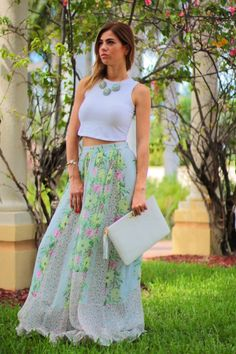 Long flowy floral maxi french connection skirt, white crop top, fancy btq mint statement necklace and white gigi new york clutch. Perfect for a baby shower, summer 2014 out tin, garden goddess {ethereal beauty}
