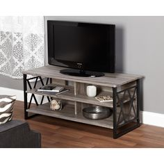 Seneca XX 48-inch Black/ Grey TV Stand | Overstock.com Shopping - Great Deals on Entertainment Centers