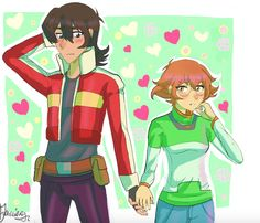 Keith and Pidge blushed as they are holding hands from Voltron Legendary Defender